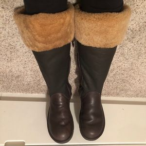 UGG Tall Brown & Black Leather Boots, Size 10.